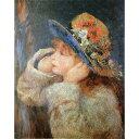 【ポイント10倍】世界の名画シリーズ、プリハード複製画 ピエール・オーギュスト・ルノアール作 「野の花の帽子をかぶった少女」【代引不可】