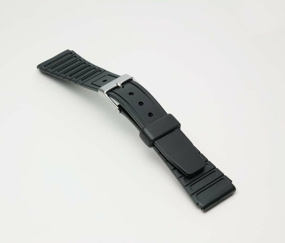 Clock belt clock band BG063A Bambi sports type urethane belt (thin) clock belt black 19mm fs3gm