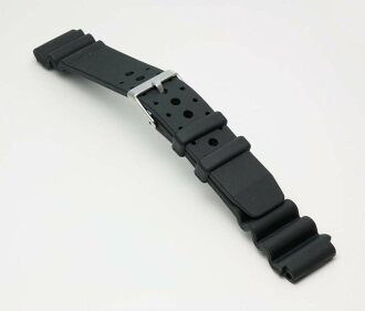 Watch watch band BG425A Bambi for divers urethane belt (thick type) Watch belt black 19 mm