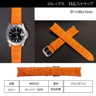 Clock band (with a buckle) 20mm fs3gm for clock belt men RW02CMR for Rolex, collection crocodile orange (luster) watches