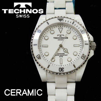 Watch technos men's watch quartz ceramic case Sapphire white T4-W [size adjustment free]