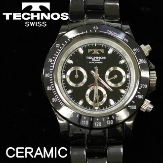Watch technos men's watch quartz ceramic case chronograph black T1-B [size adjustment free: fs3gm