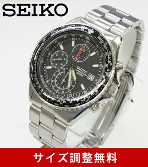 Importing foreign models imports SEIKO high-speed chronograph pilot mens watch black dial stainless steel belt SND253PC [free size] Japan Seiko imports models. Guarantee certificate or BOX Japan Seiko specifications.