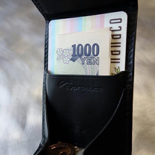 cyproductカード&コインパース黒(小銭入れコインケース)