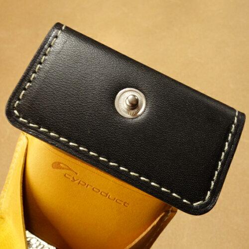 cyproductカード&コインパース黒/イエロー(小銭入れコインケース)