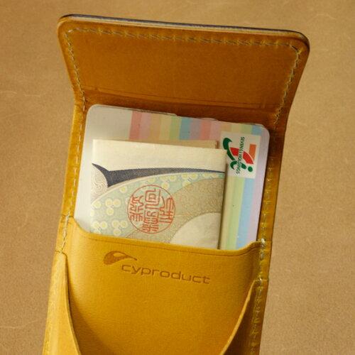 カード&コインパース内側中身が入ってるサンプル。小銭も一目瞭然!カードをチャージするお札も1枚入ります。もちろん中身は非売品です!