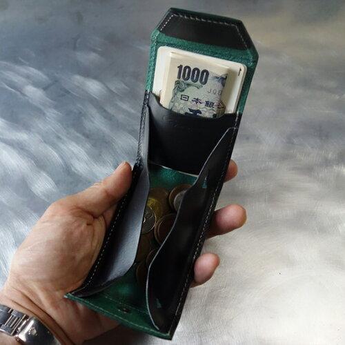 秋得プライス!cyproductカード&コインパースnaked型押しグリーン/黒(小銭入れコインケースcoinpursecoincase)