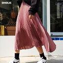 グロッシープリーツミモレ丈スカート・全5色・b47937 レディース【sk】【韓国 ファッション 人気 ロングスカート バックゴム 体型カバー ピンク】