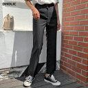 スリットスリムスラックス・全6色・t53507 レディース【pt】【パンツ ズボン ロングパンツ スラックス スリット スリム 無地 カジュアル シンプル かわいい ユニーク 夏】