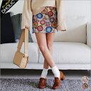 ゴブラン織りフラワーフレアミニスカート・全2色 t45751 レディース【sk】【花柄】【台形スカート】