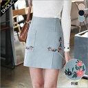 フラワー刺繍ポケットミニスカート・全3色 t47341 レディース【sk】【花柄】【台形スカート】