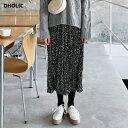 【感謝祭特価】ドットリンクルロングスカート・全2色 t522...