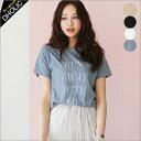 フロントレタリングショートスリーブTシャツ・全4色 b47262 レディース【tops】【トップス】