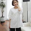 刺繍スリーブラウンドネックTシャツ・全2色・b57244 レディース