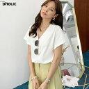 アシメプリーツネックTシャツ・全2色・b58486 レディース