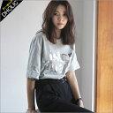 ★ビッグ英ロゴレタリングオーバーサイズ半袖Tシャツ・全4色★b45954-1 レディース【tops】