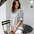 ★ディズニー刺繍ポイントオーバーサイズTシャツ・全3色★a45190 レディース【tops】