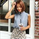 リネン混スタンドカラーシャツスリーブレス・全3色・b46425 レディース 【bl】