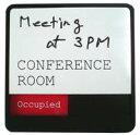 英語版 会議室 サインプレート スライド式サイン ドアプレート 空室 使用中 手書き用ホワイトボード付 / Conference Room Whiteboard Sign With Color Slider