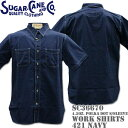 Sugar Cane シュガーケーン F/ROMANCE 4.5oz. POLKA DOT WORK SHIRT S/Sleeve SC36670-421 Navy