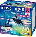 TDK 録画用ブルーレイディスク BD-R 25GB 1-4倍速 カラーミックスプリンタブル 20枚ケース入り BRV25PWMC20A