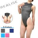 極薄素材(スーパー・シャイニー・ウェット素材)を使用した 体のラインにぴったりフィットするハイネックタイプの競泳水着。