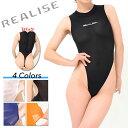 シースルー素材で身体に追随し抜群にフィットするハイネックタイプの競泳水着。