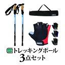【トレッキングポール3点セット】アルミポール(2本):ブルー/グローブ:半指/収納袋付き登山杖