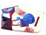 HERMES エルメス スカーフ 衣料品 アイボリー×アカ×アオ 和柄【473】【中古】【大黒屋】