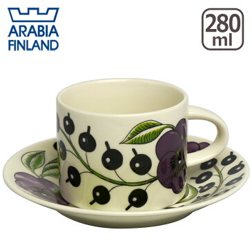 アラビア(Arabia) パラティッシ(Paratiisi) パープル ティーカップ&ソーサー 北欧 食器 (Purple) 食器洗い機 対応