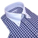 半袖 ビジネスシャツ ボタンダウン クレリック 形態安定 スマートフィット M.L 紺のギンガムチェック メンズ civilized genteel