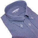 半袖 ビジネスシャツ ボタンダウン 形態安定 スマートフィット M.L 紺のギンガムチェック メンズ civilized genteel