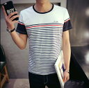 期間限定 Tシャツ メンズ トップス 半袖 クルーネック プリント ロゴ ボーダー インナー 細身 カジュアル大 きいサイズ メンズファッシ...
