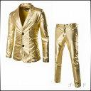期間限定 スーツ セットアップ メンズ 上下セット ジャケット テーラード シングル 無地 黒 金 銀 ロングパンツ 衣装 パーティー メンズファッション ※fu