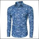カジュアルシャツ メンズ トップス シャツ 長袖 総柄 シャツジャケット 羽織 インナー きれいめ カジュアル 細身 スリム メンズファッション ※fu