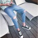 期間限定 デニム メンズ ボトムス テーパード ダメージ加工 カジュアル ブリーチ加工 メンズファッション ジーンズ ジーパン Gパン パンツ ※fu