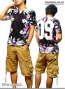 Tシャツ メンズ トップス 総柄 花柄 ビッグ9 フォトプリント メンズファッション 半袖