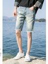 デニム メンズ ボトムス パンツ ジーンズ ジーパン ハーフパンツ ハーパン ダメージ加工 シンプル カジュアル メンズファッション Gパン
