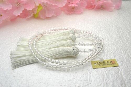【ご紹介します!京都の職人の手作り念珠!天然石を独自のスターシェイプカットに加工!】本水晶共仕立