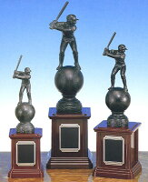 トロフィー:野球ブロンズトロフィー:ボール&バッター(高さ335mm)BT3566-A【文字彫刻無料】[F/K2]の画像