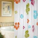 シャワーカーテン 防水防カビ加工 カーテンリング付属 花柄 180cm×200cm