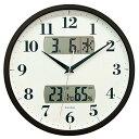 ショッピング掛け時計 FORMIA 掛け時計 電波時計 アナログ カレンダー 温度 湿度 表示 ダークブラウン HWC-001