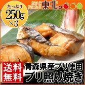 ブリ照り焼き250g×3/青森県産ブリ使用/送料無料/鰤/ぶり/ブリ/照り焼き/照焼
