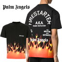 パームエンジェルス PALM ANGELS Tシャツ 半袖 メンズ クルーネック ロゴ ファイヤー FIRESTARTER CLASSIC TEE (1088/BLACK)【PMAA001R20413017】