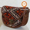 ショッピングモロッコ 【送料無料】【ウェブ特価】トルコ雑貨 トルコ オールド 手織り キリム 本革 ななめがけ ポシェット バッグ