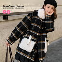 レディース コート 秋 冬 ボア ジャケット グレンチェック 韓国ファッション ボアジャケット チェックコート おしゃれ オルチャンファッション 韓国服 デート 20代 30代 40代 オフィス 上品
