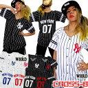 ピンストライプNewYorkベースボールTシャツ(A1263)CROSS-B