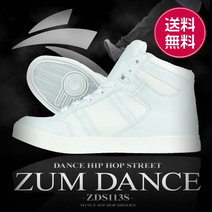 ダンス スニーカー ダンススニーカー ダンスシューズ ハイカット 白 エナメル ZUM ス…...:dancenets:10000659