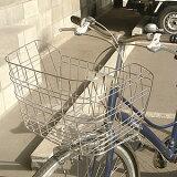 【全品/8から】自転車用前カゴ ワイドカゴ ワイヤーメッシュ ステンレス D-55ST