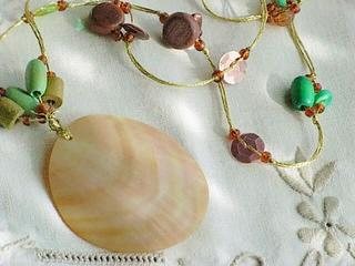 "Threaded with gold and multicolored beaded necklace ""SPRING"""